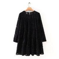 Женское черное повседневное свободное мини-платье с высокой текстурой, Осеннее женское платье с рукавами-фонариками, платья с оборками DS2950