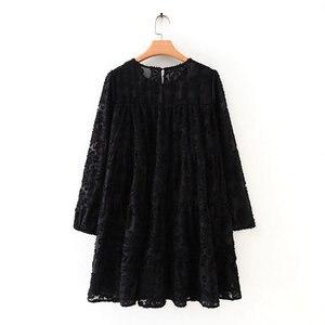 Women high street texture pattern black casual loose mini Dress autumn ladies lantern sleeve vestidos chic ruffle Dresses DS2950(China)