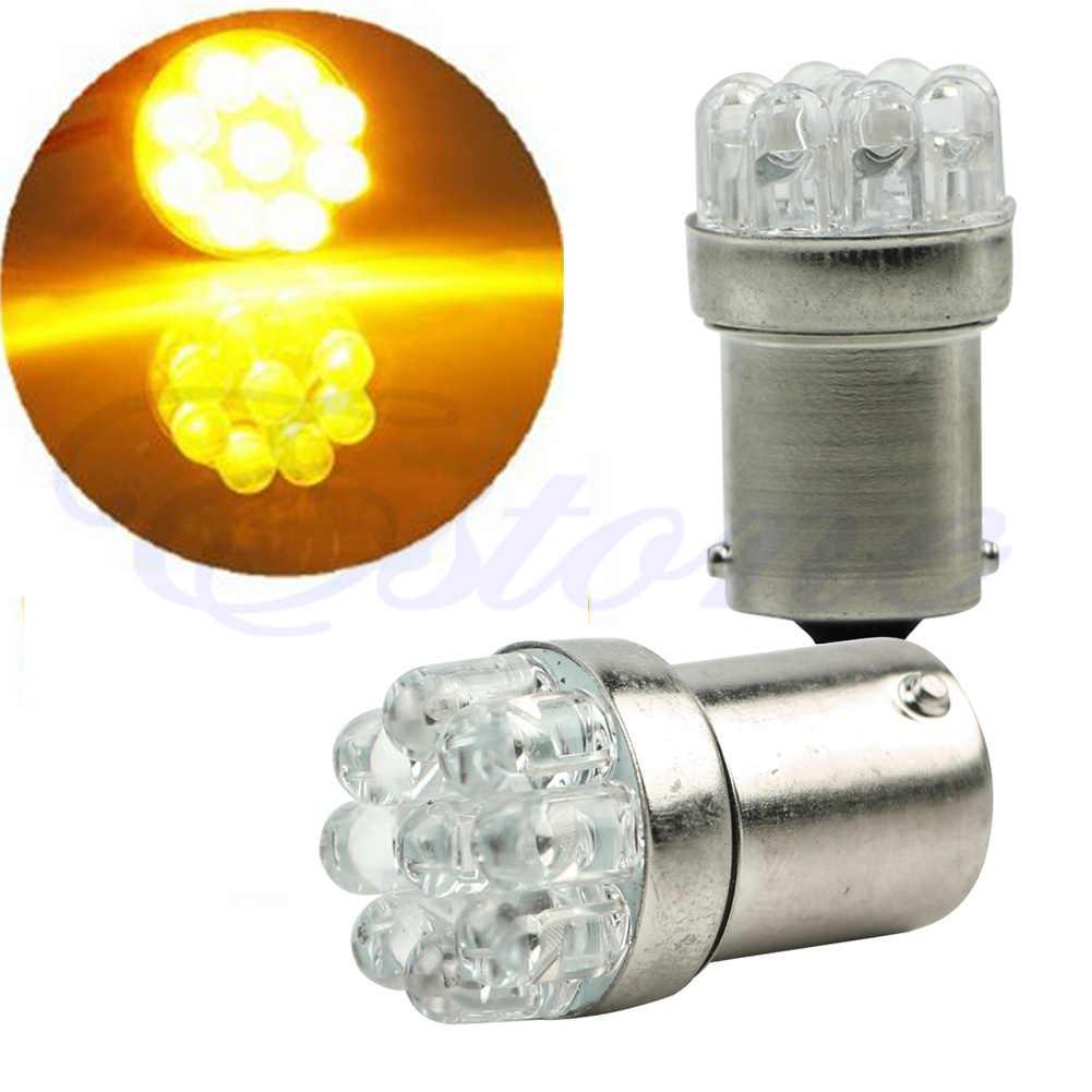 1x1156 ba15s 9 led carro moto cauda turn signal lâmpadas amarelo brilhante