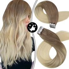 Hair-Extensions Ombre Skin-Weft Remy-Tape Human-Hair 100%Natural Brown PU Brazilian Blonde