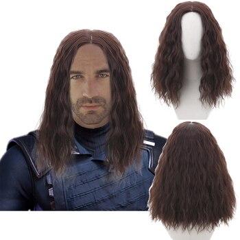 만화 영화 겨울 군인 bucky barnes loki thor auburn 긴 물결 모양의 코스프레 합성 머리 가발 남자 파티 의상 할로윈