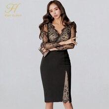 H Han Queen Women Elegant Sexy Patchwork Lace Vestidos 2020