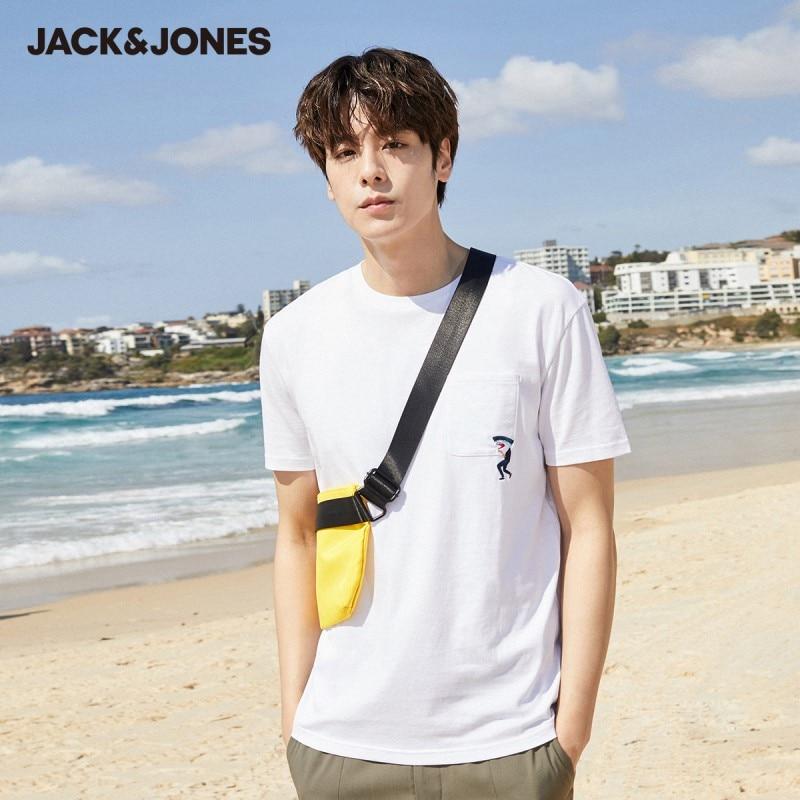 JackJones Men's Spring & Summer 100% Cotton Round Neckline Embroidered Elbow Sleeves T-shirt  220101547