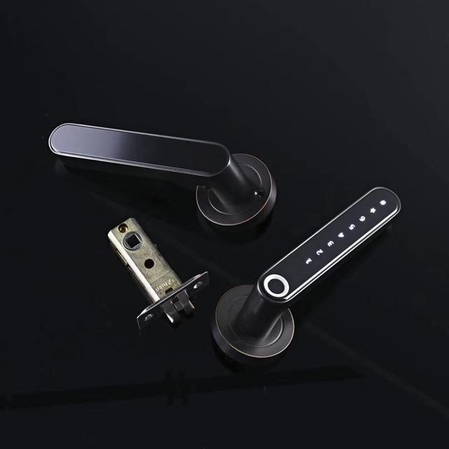 Умный дверной замок биометрический код отпечатков пальцев Blutooth Электрический замок с ручкой USB Аккумулятор для дома/офиса/Лофт железная/де...