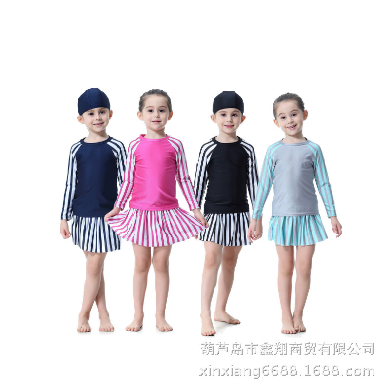 2019 New Style Hot Sales Supply Of Goods Export Hot Selling Europe And America Children Girls Stripes Three-piece Set Swimsuit