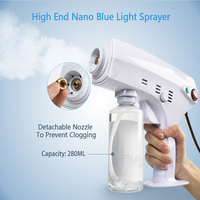 Djworld 1200W Handheld Atomization Disinfection Fog Machine Stage Smoke Machine Blue Light Nano Steam Gun Hair Spray Machine