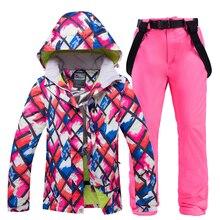 Женский лыжный костюм, брендовая зимняя высококачественная теплая водонепроницаемая ветрозащитная одежда, зимние штаны и куртка, лыжные и сноубордические костюмы