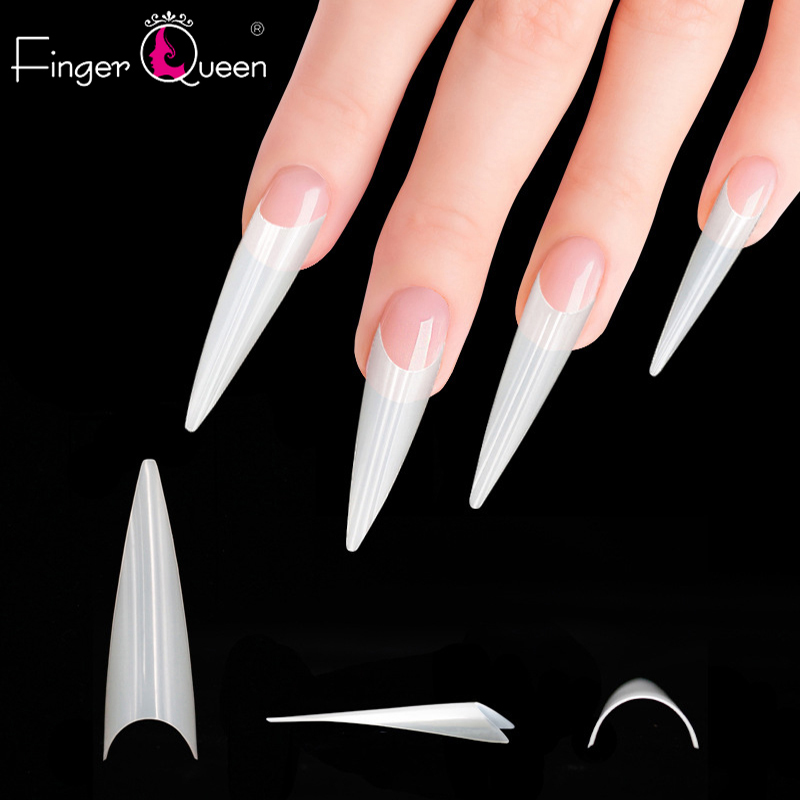 Fingerqueen 500Pcs Long Ballerina French Fake Nails Tips Extra Long Stiletto False Nails Painted Party Designed Nail Art FQ914