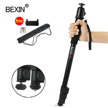 BEXIN New portable lightweight 47cm monopod aluminum camera stand P 264 witn phone clip for dslr camera Video