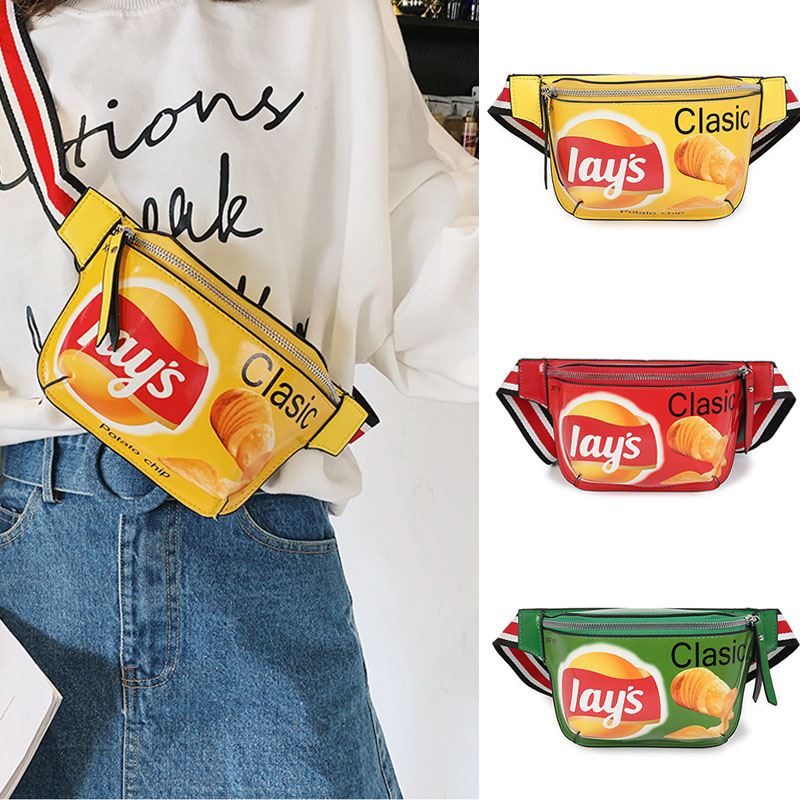 Fashion Mini Fanny Pack For Women Hip Hop Potato Chip Waist Bag Quality PU Leather Chest Bags Graffiti Printed Ladies Banana Bag