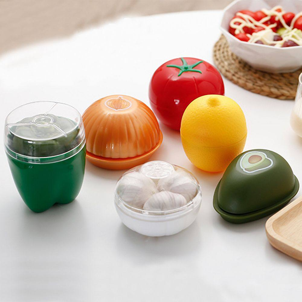 Kitchen Vegetable Fruits Onion Shaped Plastic Fresh Storage Box Case.