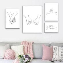 Modern Home Decor Nordic Style Simple Lines Canvas Painting Pictures Wall Art Prints Black White Modular Poster for Living Room недорого