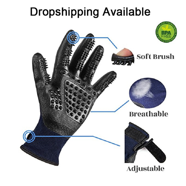 1 Pair Grooming Glove for Cats Soft Rubber Pet Hair Remover Dog Horse Cat Shedding Bathing Massage Brush Clean Comb for Animals 1