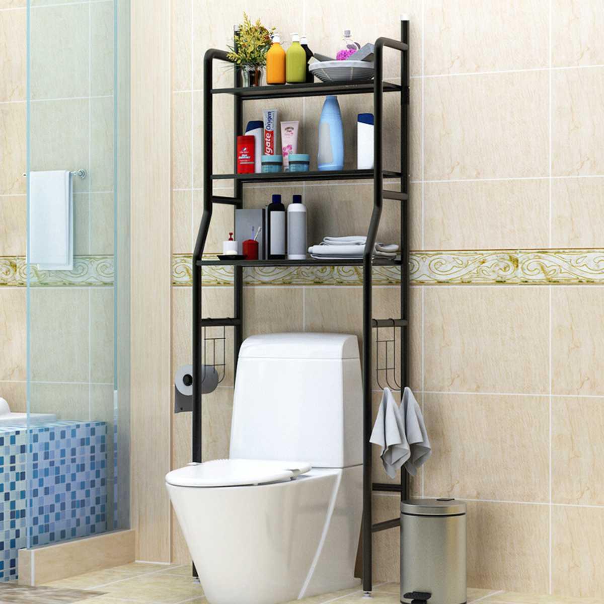 Noir en acier inoxydable sur support armoire de toilette rayonnage cuisine Machine à laver support salle de bain économiseur d'espace étagère support organisateur
