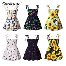 Girls Dresses Children Clothes Flower-Print Cotton Kids Summer Casual 1-7-Years Sleeveless