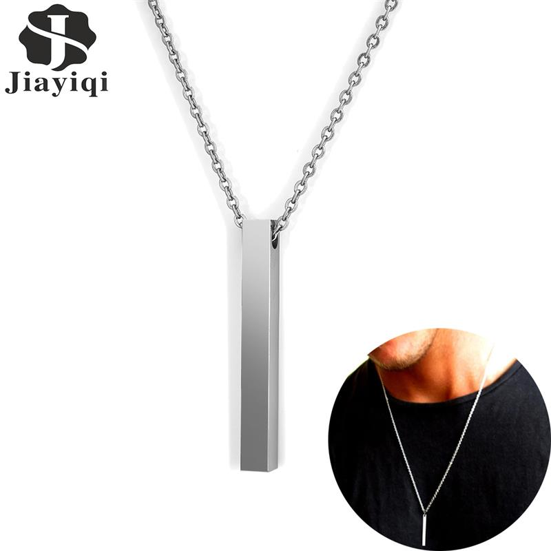 Fashion Rectangle Pendant Necklace Stainlees Steel Chain Necklace For Men Women New Simple Hiphop Jewelry Male Accessories Gift