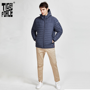 Image 4 - 타이거 포스 2020 새로운 남성 스트라이프 자켓 포켓 고품질 제거 후드 따뜻한 남성 캐주얼 코트 겉옷 지퍼 50629