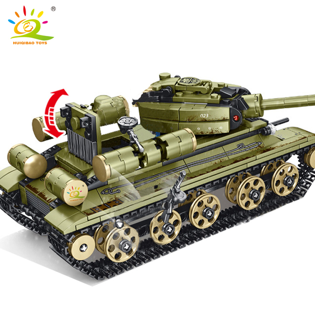 HUIQIBAO 683pcs WW2 T-34 Medium Tank Building Blocks Army 5 Soldier Military weapon Model Bricks Construction Toys for children