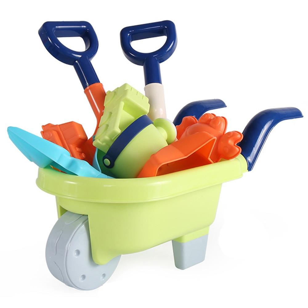 Baby Kids Beach Toy Set Silicone Shovel Tool Kit Children Summer Beach Play Sand Bucket Rake Hourglass Sandbox Set Toys