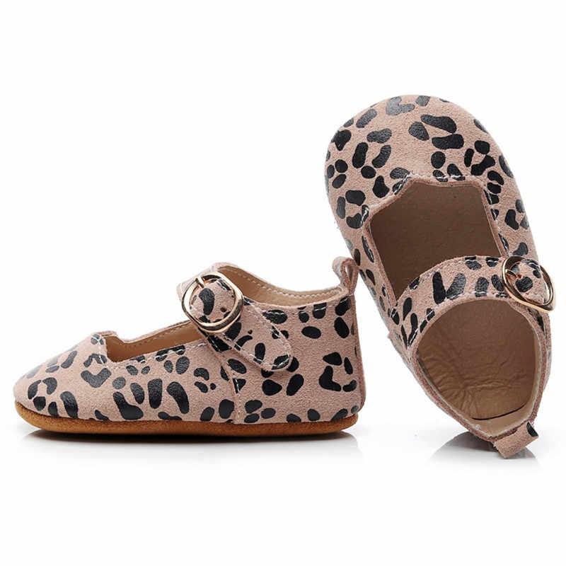 Zapatos planos para bebé Mary Jane de piel auténtica, zapatos lisos de leopardo con onda de encaje para recién nacidos, zapatos de suela blanda para bebés, zapatos de otoño y primavera