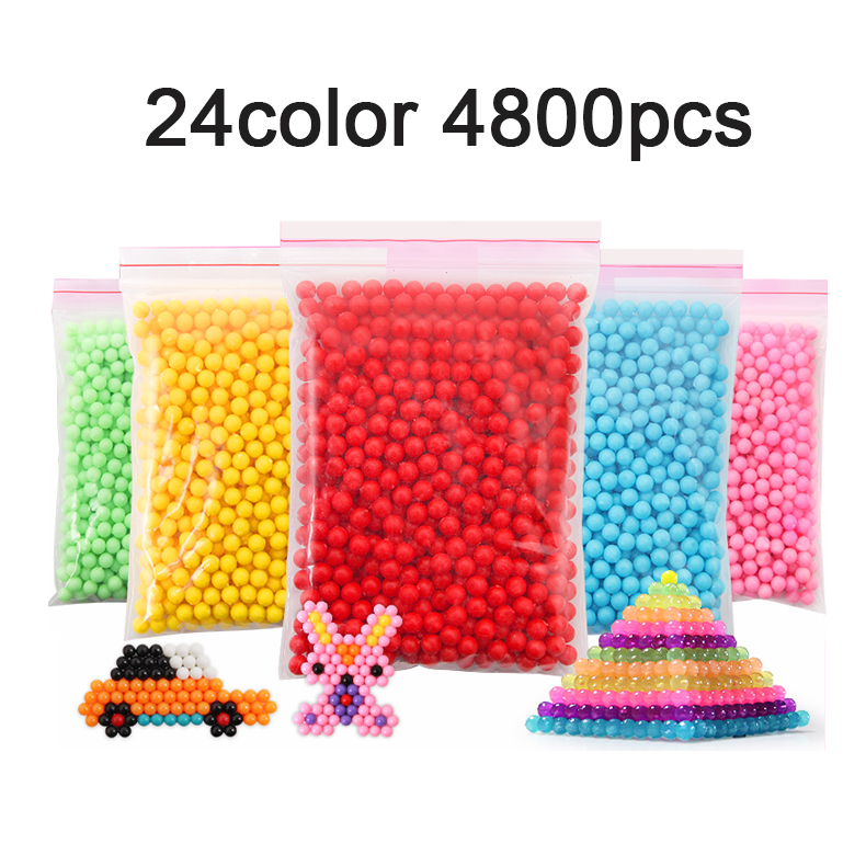 Yantjouet Magic Water Sticky Beads Children Beads 4800pcs 24colors Crystal Color Water Spray Puzzle Aqua For Kids Gift Toys