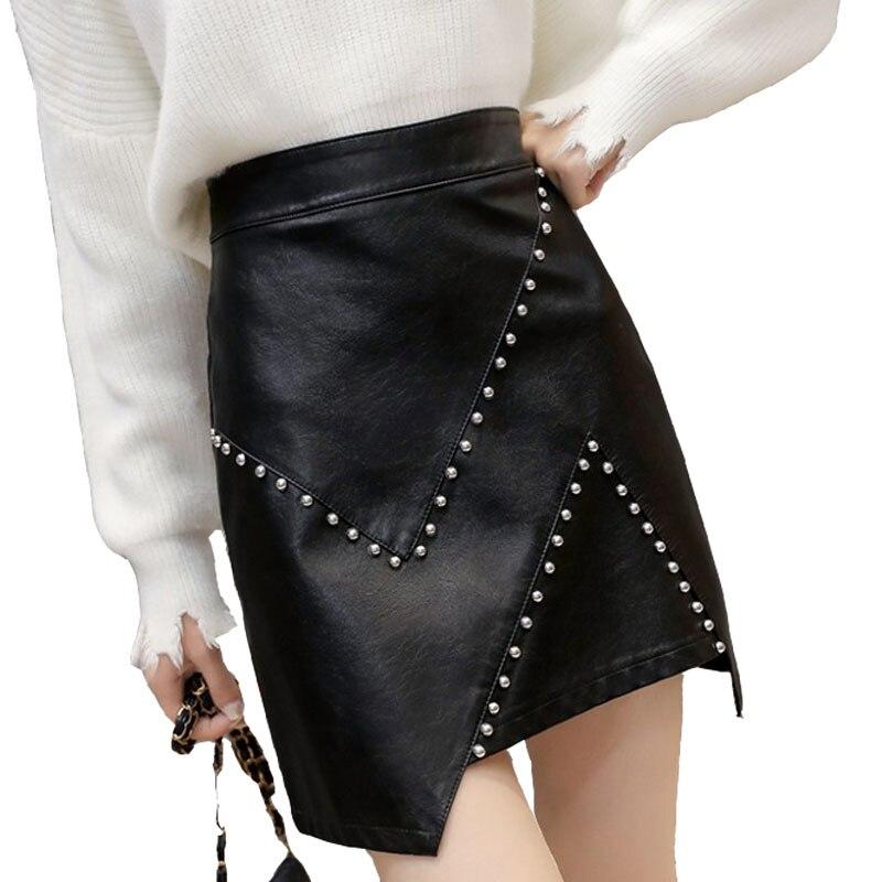 Women's Pu Leather Skirt New Fashion Rivet High Waist A-line Skirt Autumn Winter Irregular Package Hip Mini Short Skirt ML285