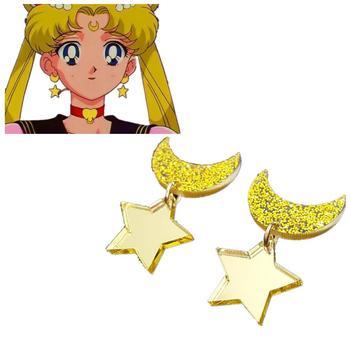 Accesorios de Cosplay de Sailor Moon, 1 par de Anime, pendientes con diseño espacial de estrella, Luna, Kawaii, Clip para las orejas, accesorios de joyería para regalo