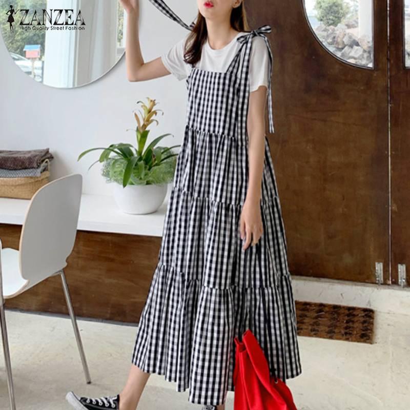 Fashion Ruffle Dress Women's Summer Check Vestidos 2021 ZANZEA Casual Overalls Dresses Female Plaid Lace-Up Robe Plus Size 5XL