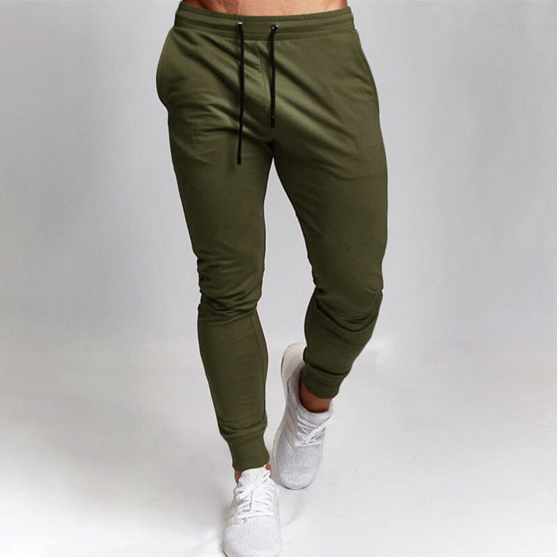HEFLASHOR Men Sport Leisure Trousers Solid Color Versatile Running Training Fitness Pants Lace Up Solid Versatile Fitness Pants