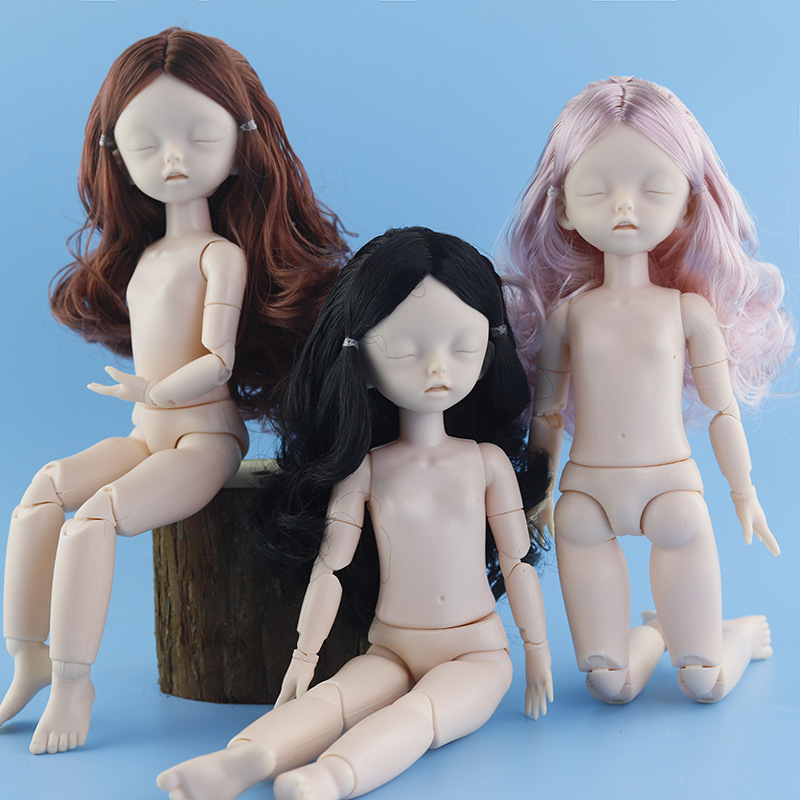 Bjg Sleep Eyes Doll 28cm 22 Movable Joints No Makeup 1/6 Naked Normal Skin Dolls Childen DIY Makeup Toys Free Doll Shoes Gifts
