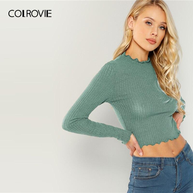 COLROVIE solidna sałata wykończenia jednolita seksowna dzianinowy crop top dla kobiet zwykła koszula 2019 wiosna koreański, z długimi rękawami eleganckie damskie koszule 2
