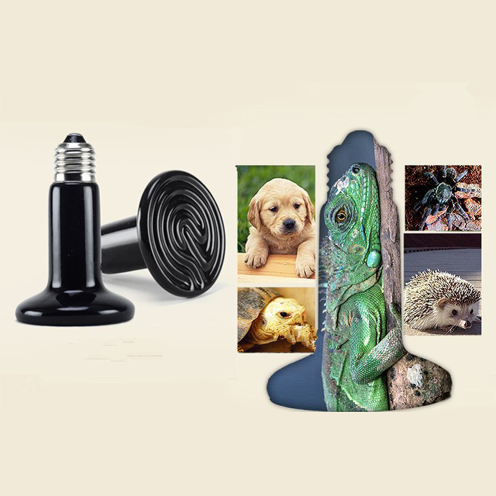 Mini Pet Heating Ceramic Lamps Black Infrared Ceramic Emitter Heat Light Bulb Pet Brooder Chickens Reptile Lamp 25w 50w 75w 100w