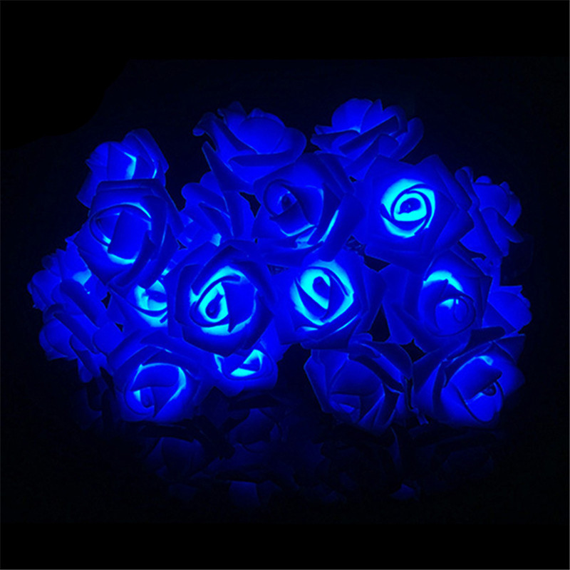 LED String Lights Flower Fairy Rose Garland Wedding Party Christmas Propose Marriage Blue Enchantress Photo Decor Battery Lamp