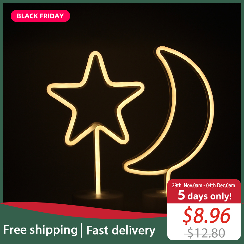 JSEX LED Neon Lights Night Light Unicorn Lamp Fairy Home Desk Table Battery Operated with USB Star Moon Cat Flamingo Heart