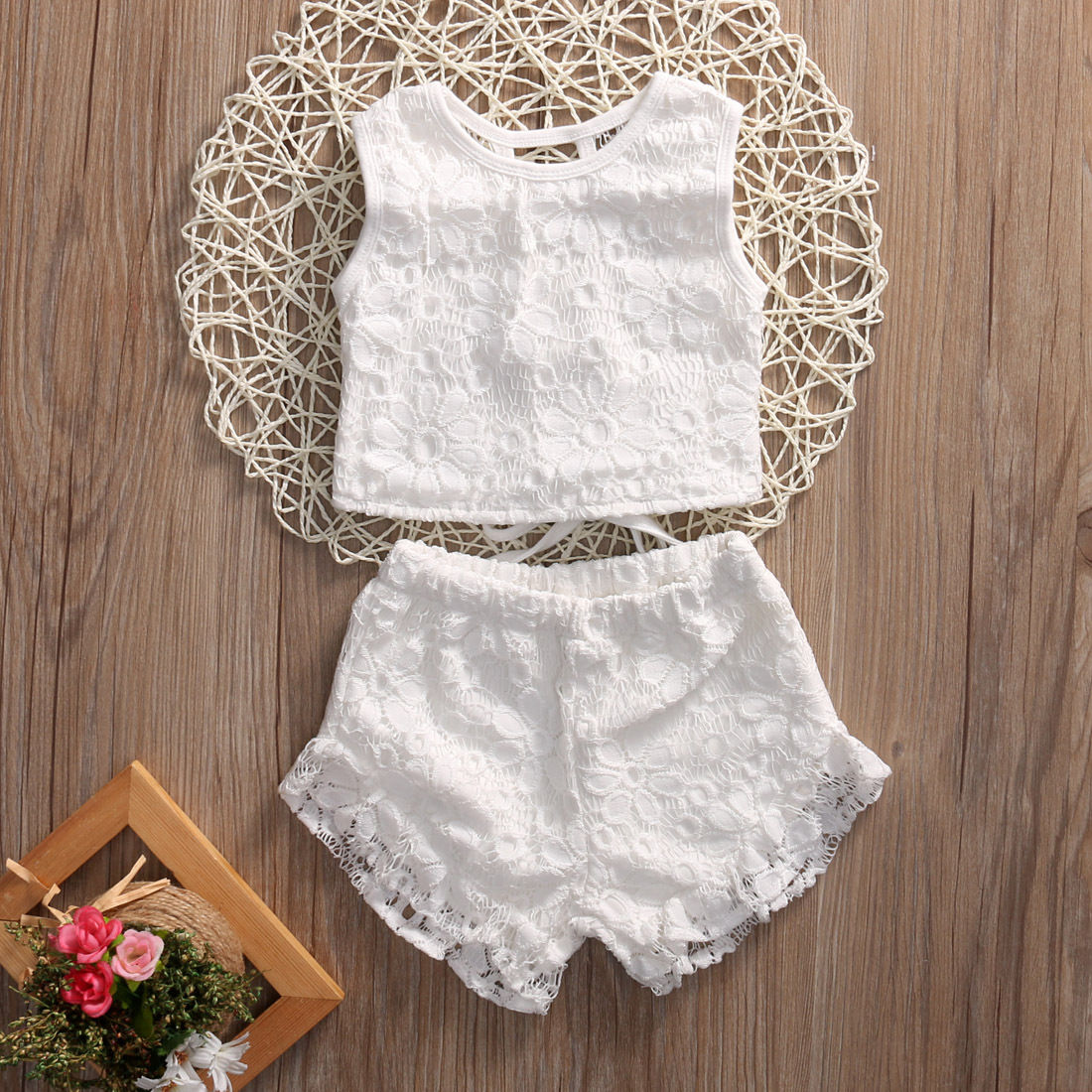 2PCS Kids Baby Girl Summer Clothes Set Toddler Girls White Lace Floral Crochet Tops Shorts Outfits Set Clothings