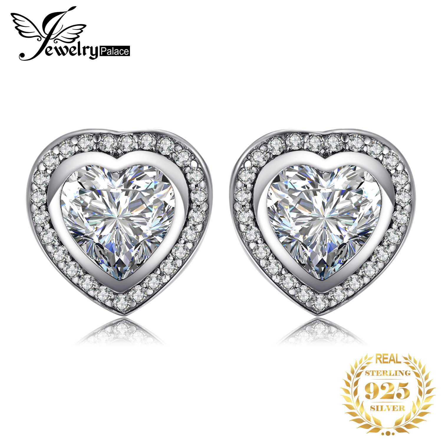 JewelryPalace Love Heart CZ Stud Earrings 925 Sterling Silver Earrings For Women Girls Korean Earrings Fashion Jewelry 2019