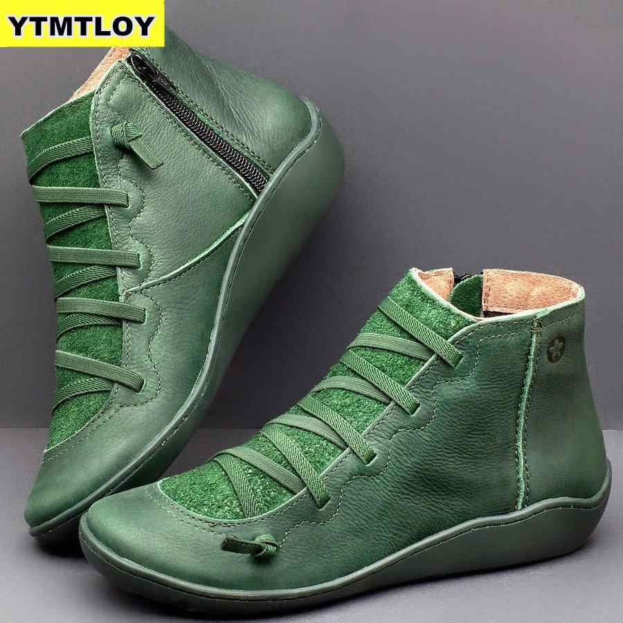 Women's PU Leather Ankle Boots Women Autumn Winter Cross Strappy Vintage  Punk Boots Flat Ladies Shoes Woman Botas Mujer