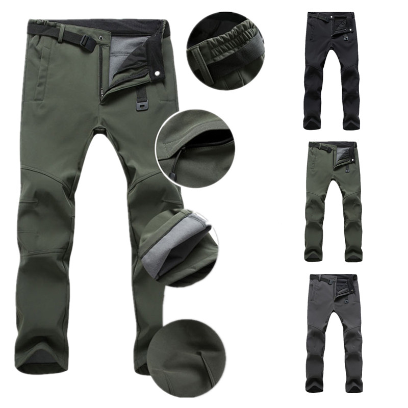 Men Fleece Waterproof Outdoor Pants Soft shell Pant Trousers Camp Fishing Trekking pants Hiking pants Travel Quick Dry pants D25 image