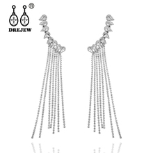 DREJEW Long Tassel Angel Rhinestone Statement Dangle Earrings 2019 Alloy Drop for Women Wedding Fashion Jewelry HE4251
