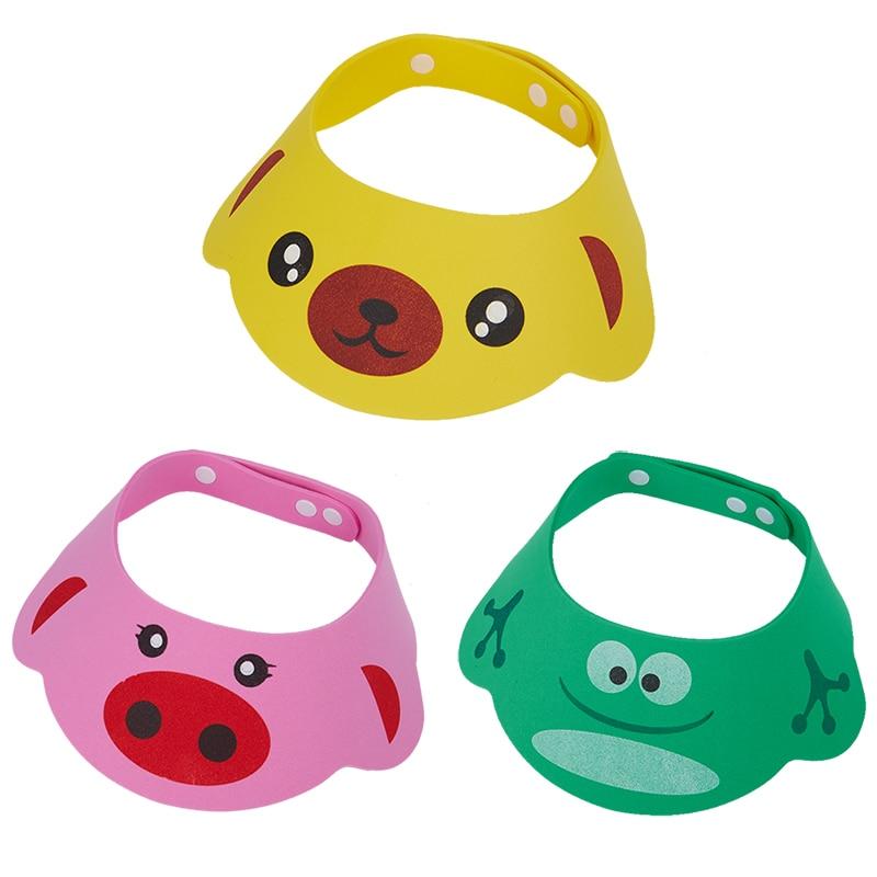 New Kids Bath Visor Hat,Adjustable Baby Shower Cap Protect Shampoo Hair Wash Shield for Children Infant Waterproof Cap 3 colors