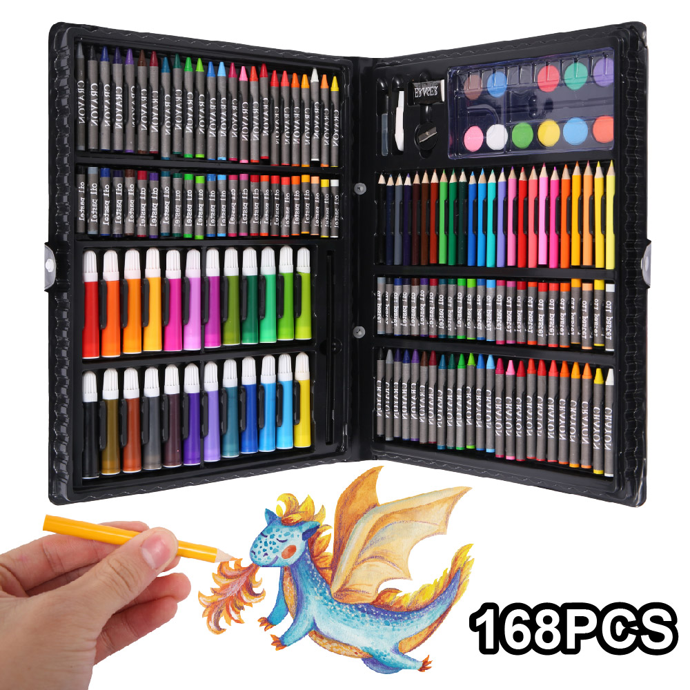 168 pcs Kids Art Set Children Drawing Set Water Color Pen Crayon Oil Pastel Painting Drawing Tool Art Supplies Stationery setArt Sets   -