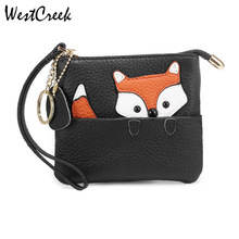 WESTCREEK Brand Fox Pattern Slim Genuine Leather Cute Coin Purse and Card Clip Wrist Small wallet with Key Ring