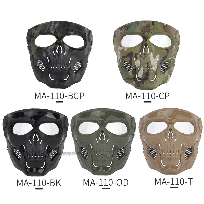 Outdoor Hunting Masks Full Face Military Airsoft Paintball Mask Translucent Lens Safety Tactical Combat CS Shooting Skull Mask