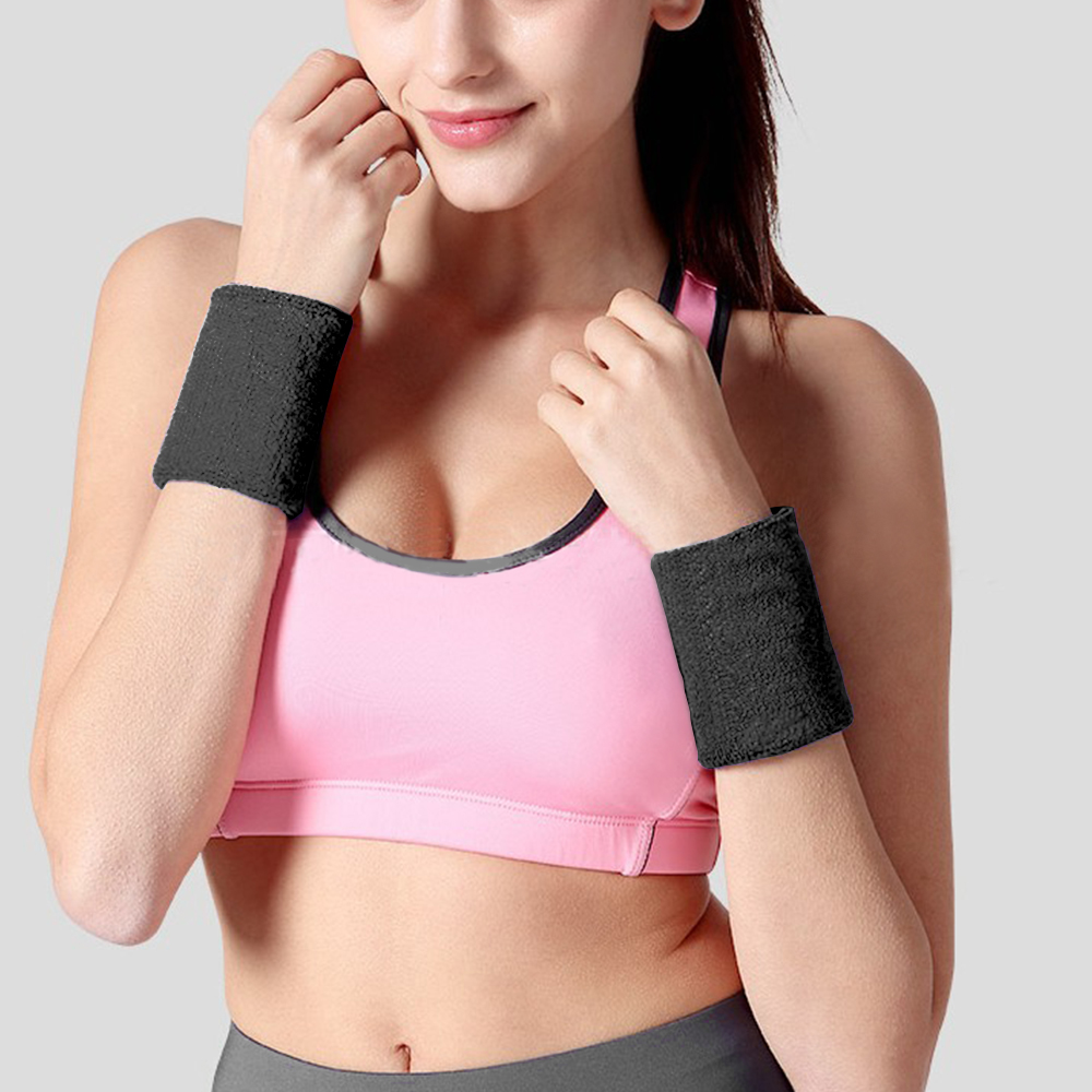 2 Pcs Unisex Sports Wrist Sweatbands Athletic Exercise Cotton Terry Cloth Sweat Bands For Basketball, Tennis, Baseball