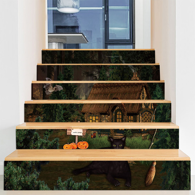 Halloween Decoration Haunted House Stairs Layout Horror Ghost | Stairs Window Glass Design | Classic | Foreign Window | Simple | Stairwell | Grill