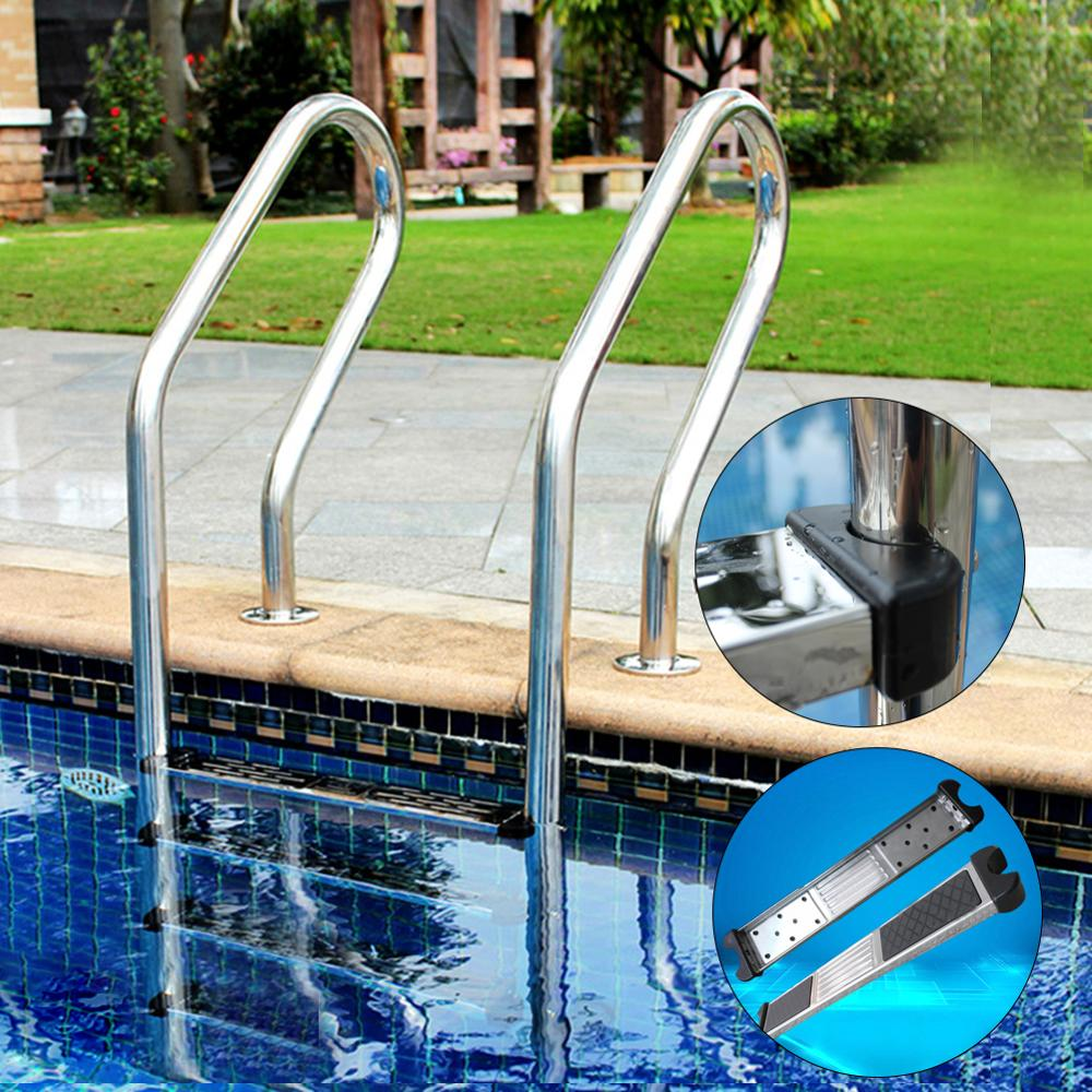 1 Pcs Swimming Pool Stainless Steel Replacement Ladder Rung Steps Anti Slip Durable Steps Swimming Pool Ladder Pedal Rung Steps