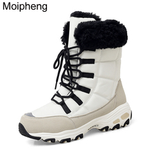 Moipheng Ankle Boots for Women Winter Shoes Keep Warm Waterproof Snow Boots Ladies Lace-up Plus Size 42 Boots Chaussures Femme