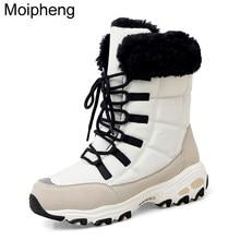 Moipheng yarım çizmeler kadınlar için kış ayakkabı sıcak tutmak su geçirmez kar botları bayanlar dantel-up artı boyutu 42 botları Chaussures femme