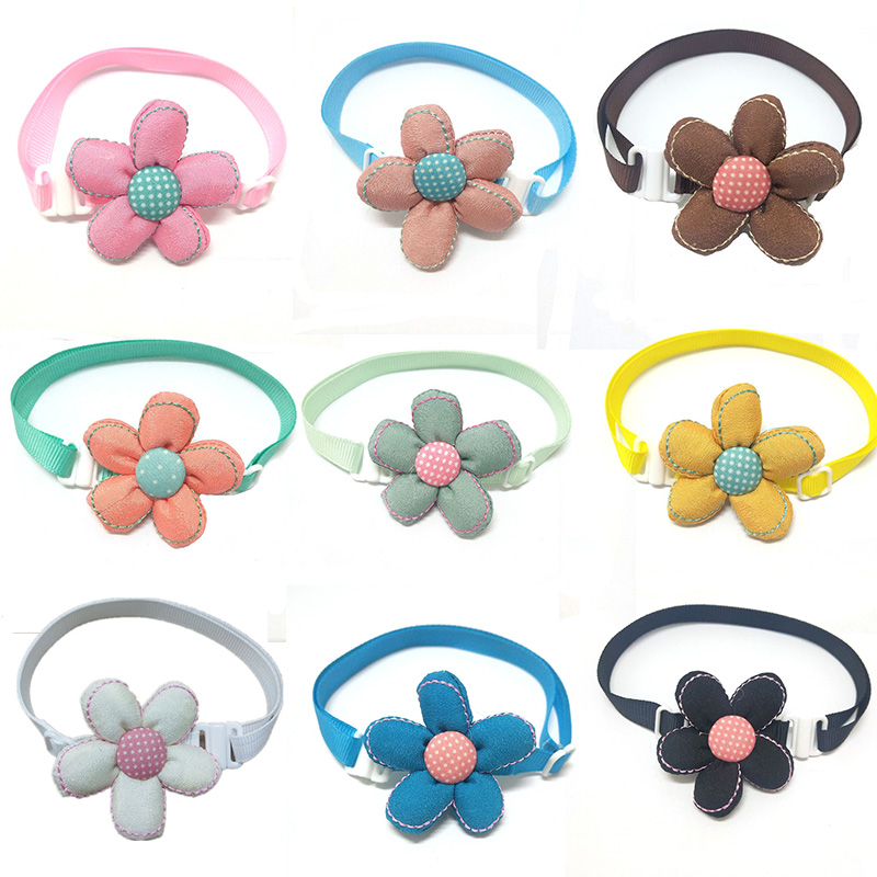 1Pcs Cute Colorful Flower Dog Pet Bow Tie Grooming Accessories Small Dog Cat Pet Bowties Products Supplies Pets Accessories