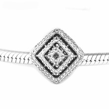 Clear CZ Geometric Lines Charm Beads for Silver 925 Original Charms Bracelets Women Jewelry DIY Crystal Beads for Jewelry Making